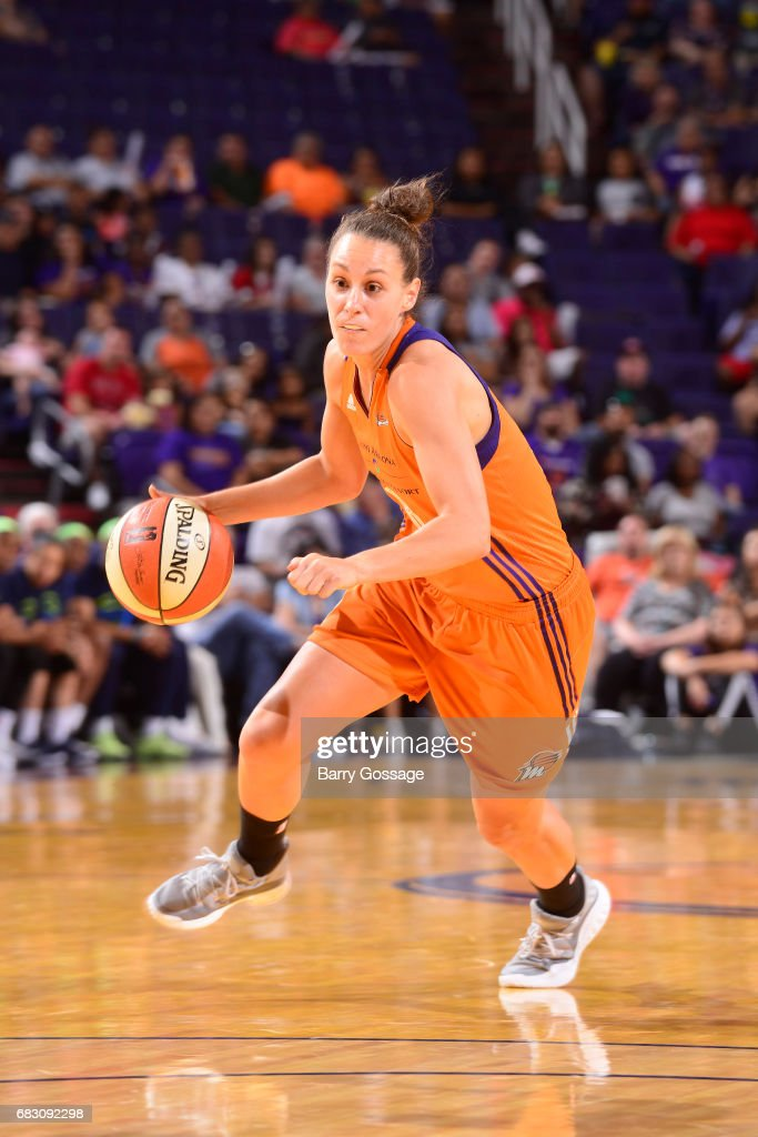 Stephanie Talbot #8 of the Phoenix Mercury handles the ball against the Dallas Wings on May 14, 2017 at Talking Stick Resort Arena in Phoenix, Arizona.