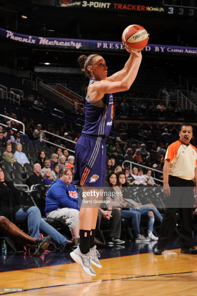 Stephanie Talbot #8 of the Phoenix Mercury shoots the ball against the Seattle Storm during a preseason game on May 7, 2017 at Talking Stick Resort Arena in Phoenix, Arizona.