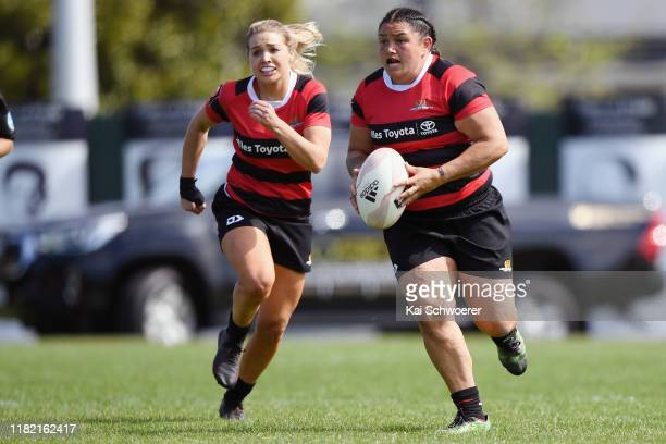 Stephanie Te Ohaere-Fox of Canterbury charges forward during the Farah Palmer Cup Premiership Semi Final match between Canterbury and Counties...