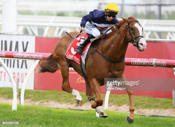Stephanie Thornton riding Nasdez wins Race 9 during Melbourne Racing at Caulfield Racecourse on January 7 2018 in Melbourne Australia