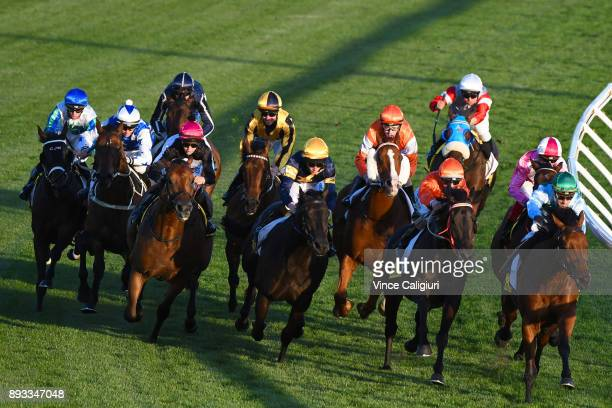 Stephanie Thornton riding Tenappy Ladies before winning Race 4 during Melbourne Racing at Moonee Valley Racecourse on December 15 2017 in Melbourne...