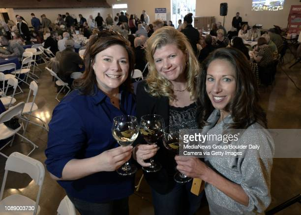 Stephanie Trapp left Lisa Whitsell and Nancy Swanson during the Broomfield High School Sports Gala on Friday April 4 at the Church Ranch Event Center...