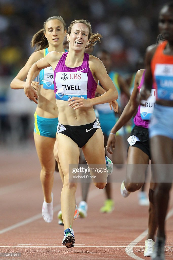 Stephanie Twell of Great Britain after setting a personal best of 4:02.54 in the women's 1500m during the Iaaf Diamond League meeting at the Letzigrund Stadium on August 19, 2010 in Zurich, Switzerland.