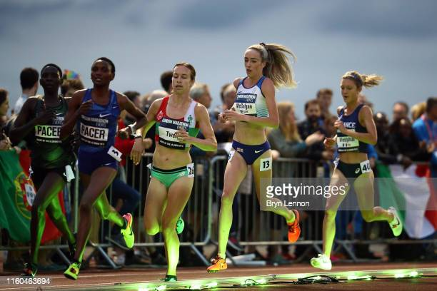 Stephanie Twell of Great Britain leads Eilish McColgan of Great Britain in the Women's European 10,000m Cup race during the 2019 Night of the 10,000m...