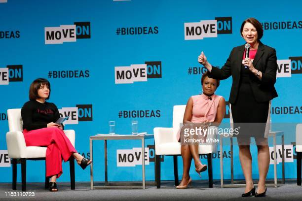 Stephanie Valencia Karine JeanPierre and Amy Klobuchar speak onstage at the MoveOn Big Ideas Forum at The Warfield Theatre on June 01 2019 in San...