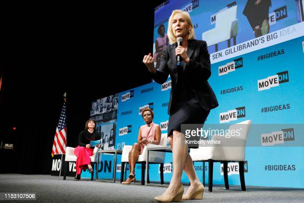 Stephanie Valencia, Karine Jean-Pierre and Kirsten Gillibrand speak onstage at the MoveOn Big Ideas Forum at The Warfield Theatre on June 01, 2019 in...
