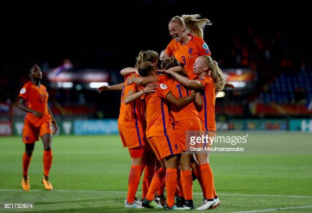 Stephanie van der Gragt of Netherlands celebrate a goal during the Group A match between Belgium and Netherlands during the UEFA Women's Euro 2017 at...