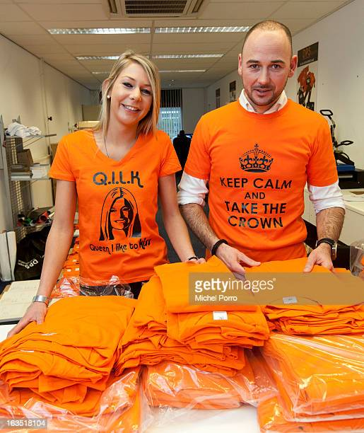 Stephanie van Oosterbosch and Wesley Koevoet prepare tshirts to be printed with coronation messages designed by DPS Company on March 11 2013 in...