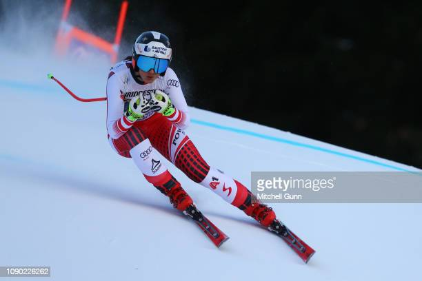 Stephanie Venier of Austria competes during the Audi FIS Alpine Ski World Cup Women's Downhill on January 27 2019 at GarmischPartenkirchen Germany