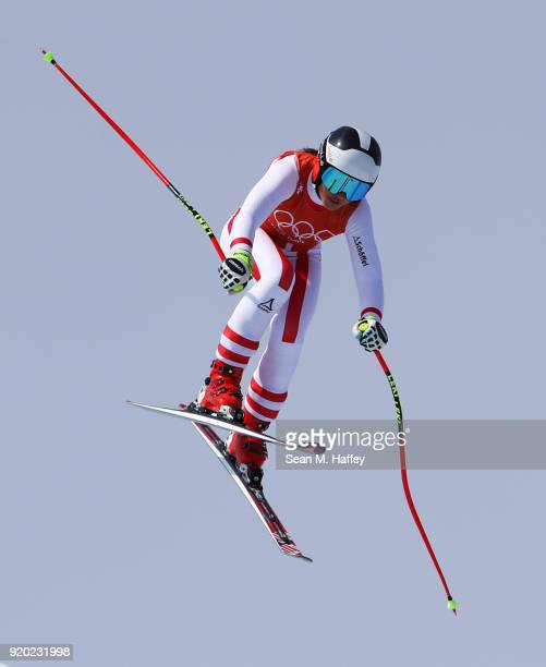 Stephanie Venier of Austria makes a run during Alpine Skiing Ladies' Downhill Training on day 10 of the PyeongChang 2018 Winter Olympic Games at...