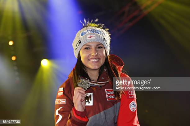 Stephanie Venier of Austria wins the silver medal during the FIS Alpine Ski World Championships Women's Downhill on February 12 2017 in St Moritz...