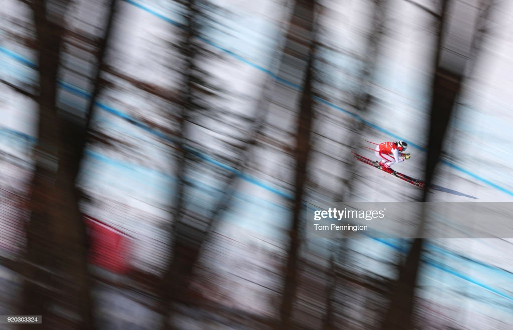 Stephanie Venier of Switzerland makes a run during Alpine Skiing Ladies' Downhill Training on day 10 of the PyeongChang 2018 Winter Olympic Games at Jeongseon Alpine Centre on February 19, 2018 in Pyeongchang-gun, South Korea.