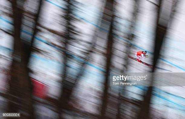 Stephanie Venier of Switzerland makes a run during Alpine Skiing Ladies' Downhill Training on day 10 of the PyeongChang 2018 Winter Olympic Games at...