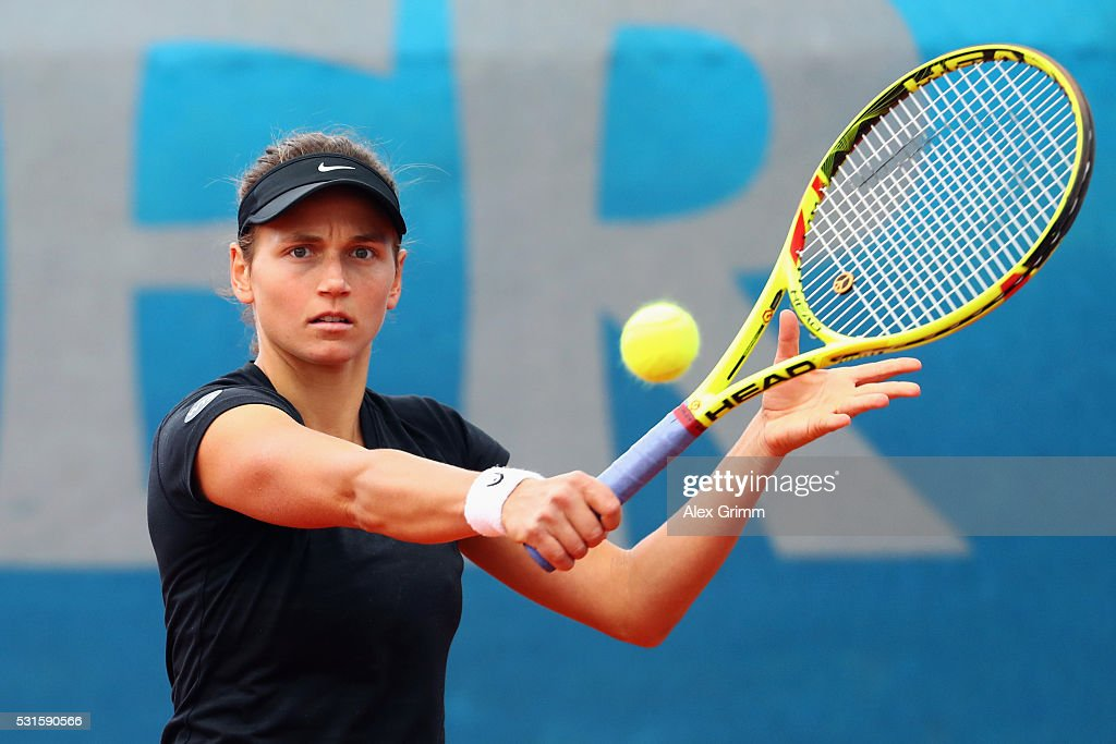 Stephanie Vogt of Liechtenstein returns the ball to Tereza Martincova of Czech Republic during Day Two of the Nuernberger Versicherungscup 2016 on May 15, 2016 in Nuremberg, Germany.