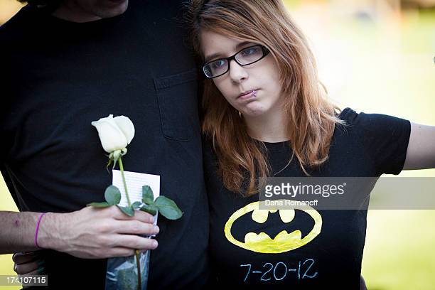 Stephanie Wacker attends a remembrance ceremony July 20 2013 in Aurora Colorado The ceremony marks the one oneyear anniversary of the Aurora Movie...