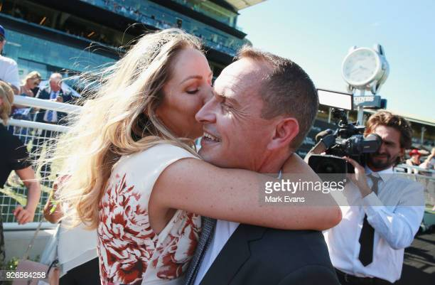 Stephanie Waller hugs husband Chris Waller after Winx won race 6 The Chipping Norton Stakes during Sydney Racing at Royal Randwick Racecourse on...