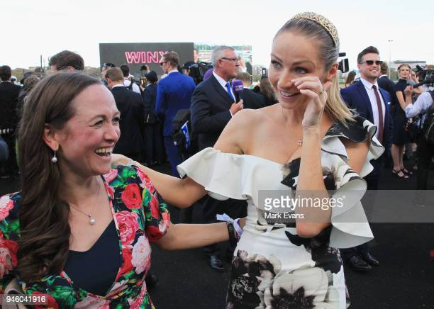 Stephanie Waller wife of Chris Waller hugs Christine Bowman after Winx won The Queen Elizabeth Stakes during day two of The Championships as part of...