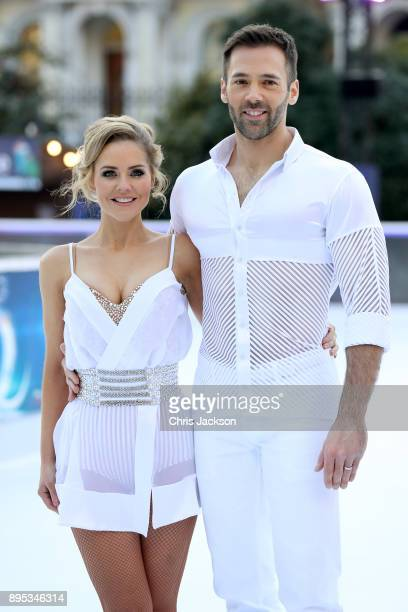 Stephanie Waring and ice skater Sylvain Longchambon pose during the Dancing On Ice 2018 photocall held at Natural History Museum Ice Rink on December...