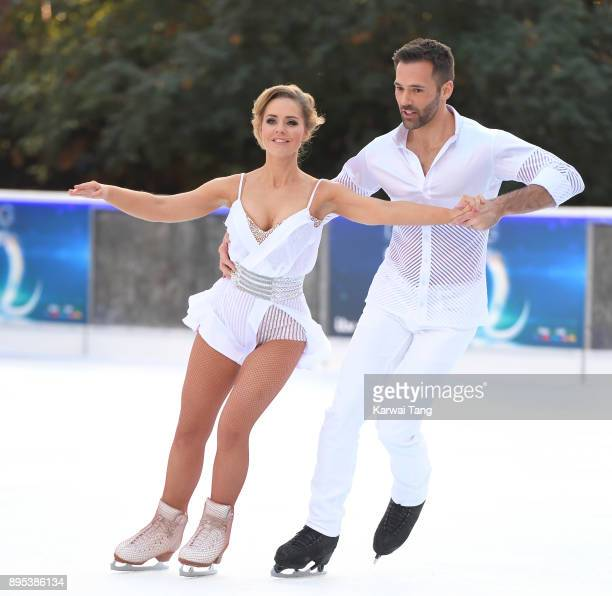 Stephanie Waring and Sylvain Longchambon attend the Dancing On Ice 2018 photocall held at Natural History Museum Ice Rink on December 19 2017 in...