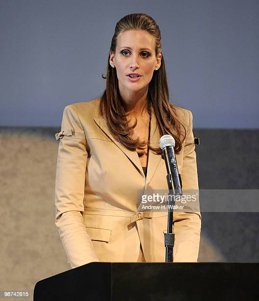 Stephanie Winston Wolkoff speaks at the unveiling of plans for MercedesBenz Fashion Week at Lincoln Center at the David Rubenstein Atrium on April 29...