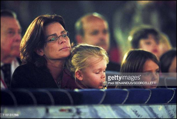 Stephanie with children at 26 th internationl circus festival in Monaco City Monaco on January 20 2002