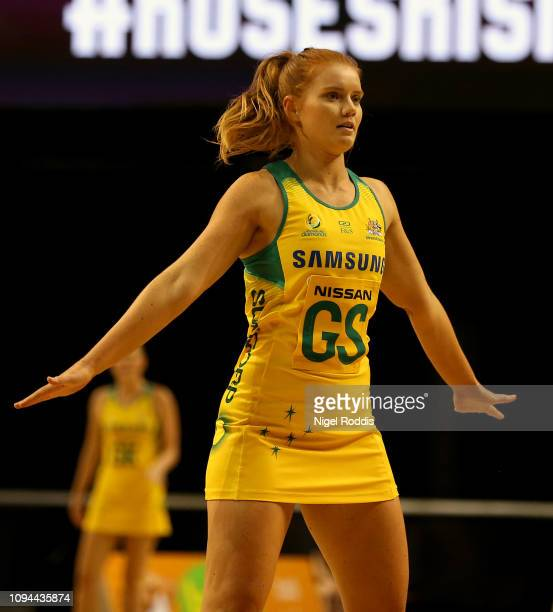 Stephanie Wood of Australia in action during the Vitality Netball International Series match between South Africa and Australian Diamonds as part of...