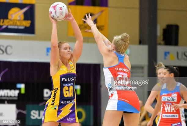 Stephanie Wood of the Lightning looks to pass during the round 13 Super Netball match between the Lightning and the Swifts at University of the...