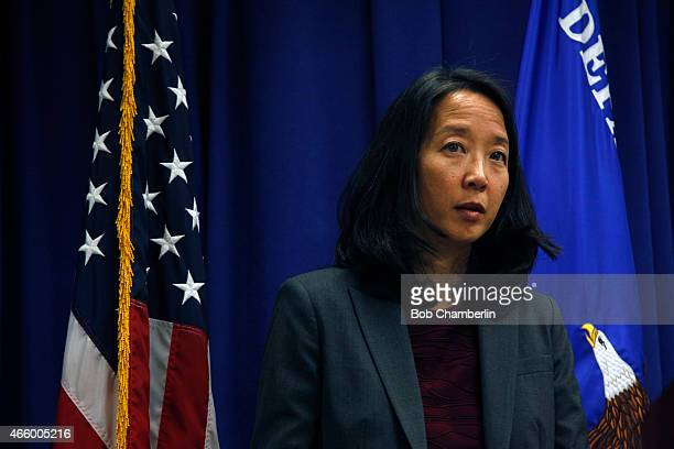 Stephanie Yonekura acting United States Attorney announces on March 12 2015 at the Federal Building an agreement that will lead to immediate and...