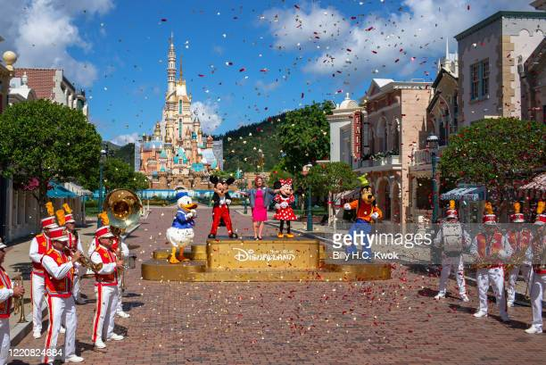 Stephanie Young managing director of Hong Kong Disneyland Resort stands on stage at Walt Disney Co's Disneyland Resort on June 18 2020 in Hong Kong...