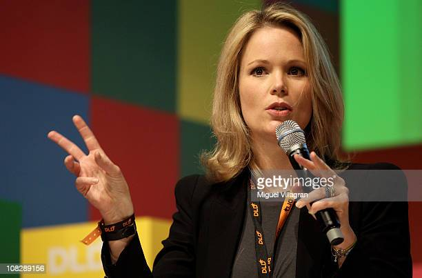 Stephanie zu Guttenberg addresses the audience on human trafficking during the Digital Life Design conference at HVB Forum on January 24 2011 in...