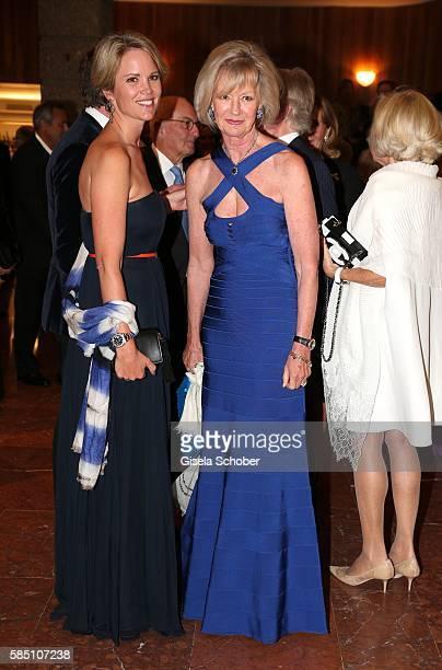 Stephanie zu Guttenberg and her mother Charlotte von Bismarck Schoenhausen during the premiere of the opera 'Manon Lescaut' on August 1, 2016 in...