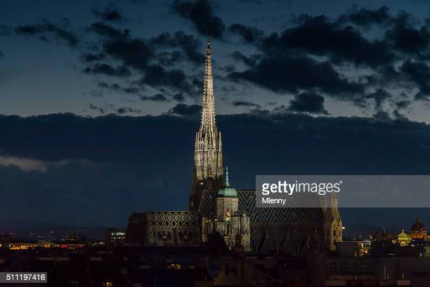 Stephansdom (St. Stephen's Cathedral) Vienna City at Night, Austria