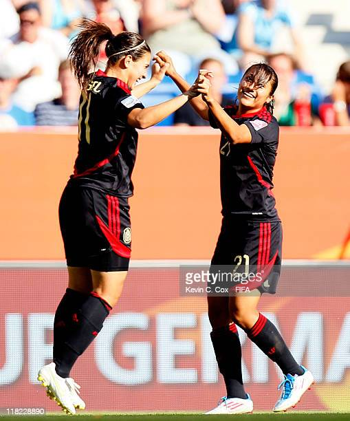 Stephany Mayor of Mexico celebrates her goal against New Zealand with Nayeli Rangel during the FIFA Women's World Cup 2011 Group B match between New...