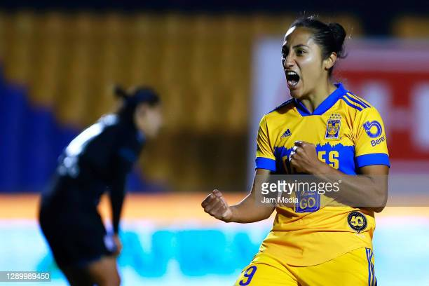Stephany Mayor of Tigres celebrates after scoring the first goal of his team during the semifinal second leg match between Tigres UANL and Queretaro...