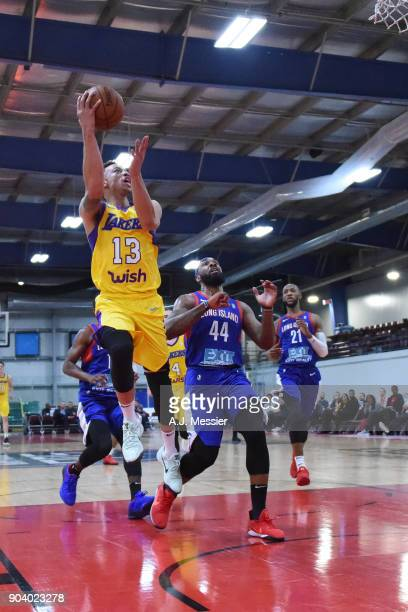 Stephaun Branch of the South Bay Lakers shoots the ball during the game against the Long Island Nets at the NBA G League Showcase Game 11 on January...
