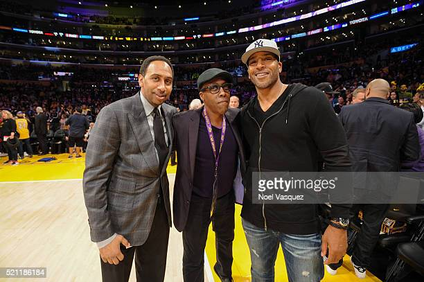 Stephen A Smith and Arsenio Hall attend a basketball game between the Utah Jazz and the Los Angeles Lakers at Staples Center on April 13 2016 in Los...