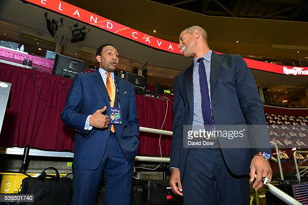 Stephen A Smith and Shane Battier before the game between the Golden State Warriors and the Cleveland Cavaliers in Game Three of the 2016 NBA Finals...
