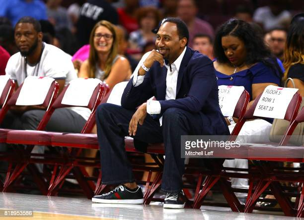 Stephen A Smith looks on during week four of the BIG3 three on three basketball league at Wells Fargo Center on July 16 2017 in Philadelphia...