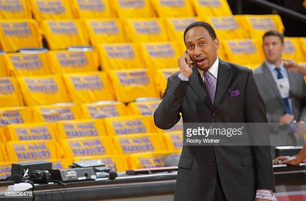 Stephen A Smith prior to the game between the Los Angeles Clippers and the Golden State Warriors in Game Six of the Western Conference Quarterfinals...