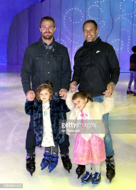 Stephen Amell and Andrew Harding attend Disney On Ice Presents Dare to Dream Celebrity Skating Party at Staples Center on December 14 2018 in Los...