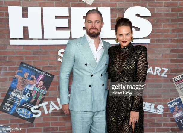 """Stephen Amell and Cassandra Jean attend the premiere of the new STARZ series """"Heels"""" on August 10, 2021 in Los Angeles, California."""