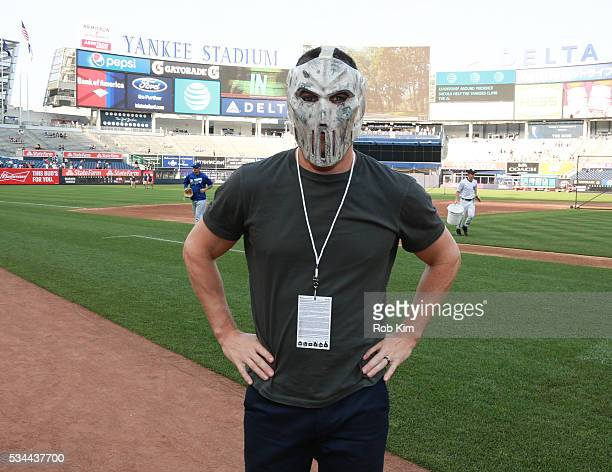Stephen Amell attends batting practice of the Toronto Blue Jays as part of the release of the Paramount Pictures title Teenage Mutant Ninja Turtles...