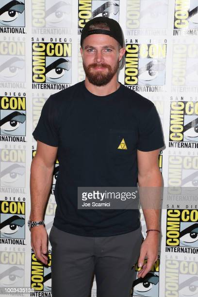 Stephen Amell attends the 'Arrow' press line at ComicCon International 2018 on July 21 2018 in San Diego California