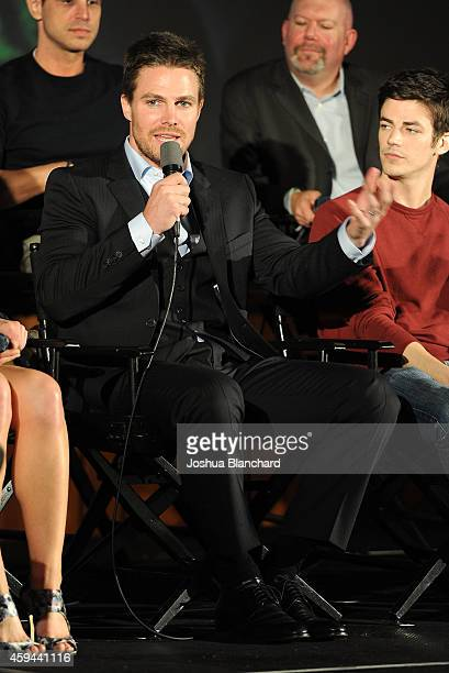 Stephen Amell attends the special screening for the CW's Arrow And The Flash at Crest Theatre on November 22 2014 in Westwood California