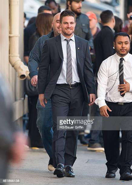 Stephen Amell is seen at 'Jimmy Kimmel Live' on January 20 2015 in Los Angeles California