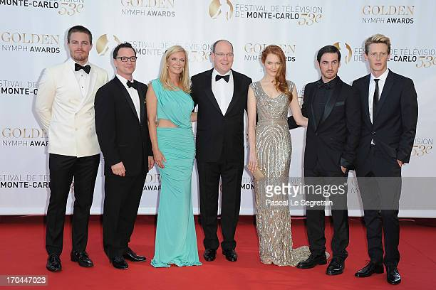 Stephen Amell, Joshua Malina, Katrine Kelly Lang, Prince Albert II of Monaco, Darby Stanchfield, Colin O'Donoghue and Gabriel Mann attend the closing...
