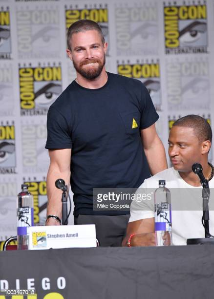 Stephen Amell takes a seat onstage at the Arrow Special Video Presentation and QA during ComicCon International 2018 at San Diego Convention Center...