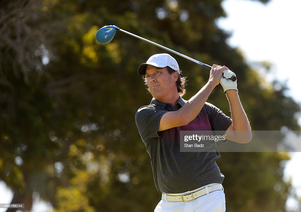Stephen Ames hits a drive on the third hole during the second round of the Champions Tour Toshiba Classic at Newport Beach Country Club on October 31, 2015 in Newport Beach, California.