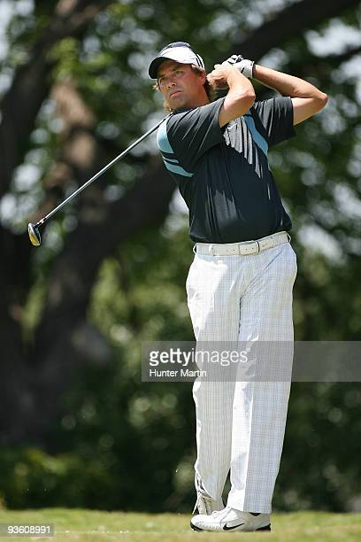 Stephen Ames hits a shot during the second round of the Crowne Plaza Invitational at Colonial Country Club on May 29 2009 in Ft Worth Texas