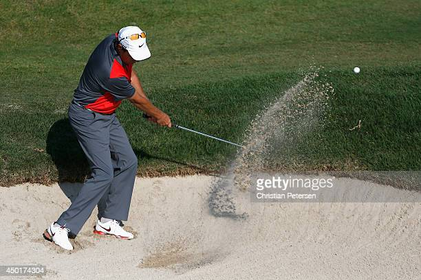 Stephen Ames of Canada chips from the bunker onto the 12th green during the second round of the FedEx St Jude Classic at the TPC Southwind on June 6...